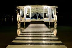 Relaxation building near beach in night illumination Stock Photo