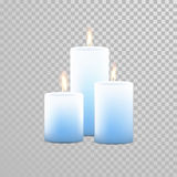 Relaxation candle set of blue vector candles. Aromatherapy candles. Vector 3D realistic burning blue candle set with flames.  round cylindrical shape candle on Royalty Free Stock Images