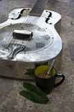 Relaxation, comfort, leisure, vacation, guitar coffee. Stock Photo