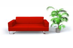Relaxation concept. Red leather sofa with decorative tree on white background vector illustration