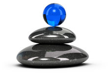 Relaxation Concept - Pebbles Stack. Two black pebbles stacked over white background with a blue glass sphere at the top. Conceptual 3D symbol of wellbeing or Stock Photo