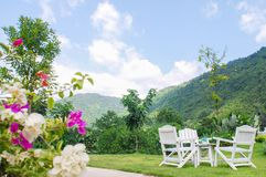 Relaxation corner with table and chairs. In the garden Royalty Free Stock Photography