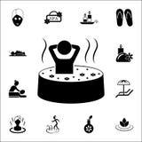 relaxation dans l'arome l'icône de baignoire Ensemble universel d'icônes de STATION THERMALE pour le Web et le mobile illustration de vecteur