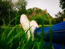 Relaxation dans l'herbe Images libres de droits