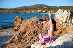 Relaxation exercises with sea view Royalty Free Stock Images
