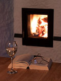 Relaxation by the fireplace Royalty Free Stock Photos