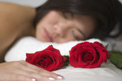 Relaxation with flower Stock Photo