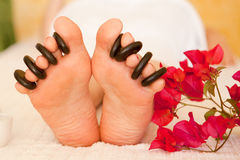 Relaxation Foot Massage. Reflexology foot massage. Spa and beauty image. Relaxation Stock Photo
