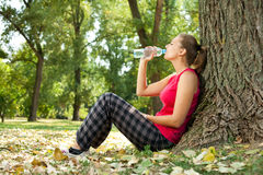 Relaxation girl in park Stock Images