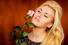 Relaxation girl with a rose Royalty Free Stock Image