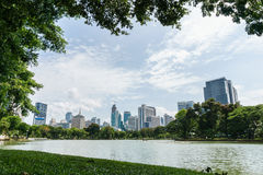 Relaxation with green trees in the park, Bangkok Thailand Stock Photo