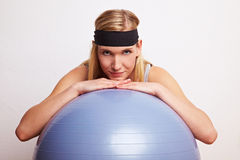 Relaxation on a gym ball Royalty Free Stock Images