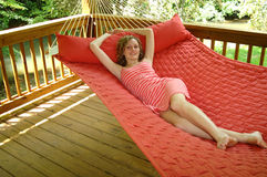 Relaxation on hammock royalty free stock photography