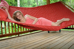 Relaxation on hammock stock images