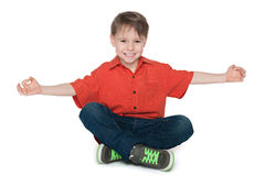 Relaxation of a happy little boy Royalty Free Stock Image