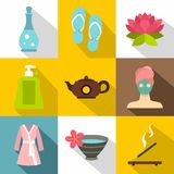 Relaxation icons set, flat style Royalty Free Stock Photography