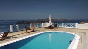 Relaxation on the island Santorini Royalty Free Stock Photos