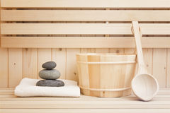 Relaxation items in sauna Royalty Free Stock Photos