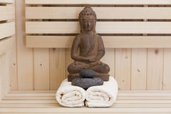 Relaxation items in sauna Stock Photos