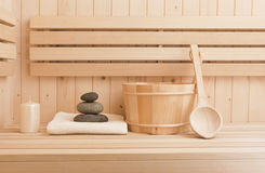 Relaxation items in sauna Stock Image