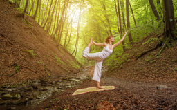 Relaxation joga pose  in wonderful  forest Royalty Free Stock Photos