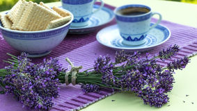 Relaxation with lavender and coffe Stock Photos