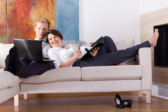 Relaxation after long day. At work, horizontal Royalty Free Stock Photography