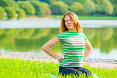 Relaxation on the lush grass Stock Images