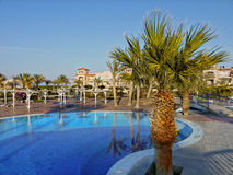 Relaxation Luxury Hotel Holiday Resort Egypt Africa. Swimming pool and palm trees near beach at luxury hotel in Marsa Alam, Egypt stock photos