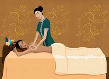 Relaxation massage. Vector illustration of a session of massage in a beauty shop, a relaxation and a healthy way of life Royalty Free Stock Photo