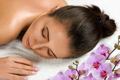 Relaxation after massage. Royalty Free Stock Images