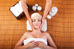 Relaxation pampering facial massage Royalty Free Stock Images