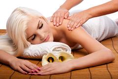 Relaxation pampering shoulder massage spa Stock Photo