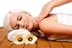 Relaxation pampering shoulder massage spa Royalty Free Stock Photo