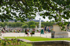 Relaxation in the park of Tileries Royalty Free Stock Image