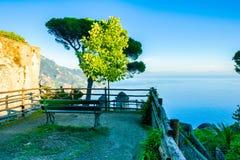 Relaxation place with bench and wonderful panorama, Ravello, Amalfi coast, Italy stock image