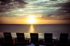 Relaxation on a pool with sunset sea view, Russia, Crimea Stock Photo