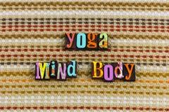 Yoga mind body attitude. Relaxation relax balance exercise honesty integrity letterpress typography soul meditation holistic mindful living love loving royalty free stock photography