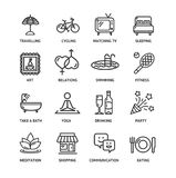 Relaxation Rest Time Black Thin Line Icon Set. Vector Stock Photography