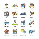 Relaxation Rest Time Color Thin Line Icon Set. Vector Royalty Free Stock Image