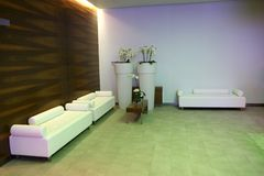 Relaxation room. In white and mahogany wood Royalty Free Stock Image