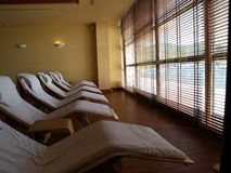 Relaxation room. Room with reclining chairs with relaxing view through window Stock Photo