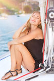 Relaxation on sailboat Royalty Free Stock Photos