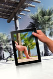 Relaxation scene. Faked relaxation scene with palm and tablet pc Stock Photography