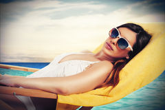Relaxation at sea stock image