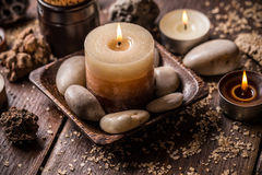 Relaxation setting with candles Royalty Free Stock Photo