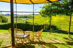Relaxation sitting area with nice view in Tuscany, Italy Stock Photography