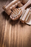 Relaxation spa set on brown pine vintage board. Vertical view sauna concept Royalty Free Stock Photo