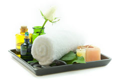 Relaxation spa set on a tray Royalty Free Stock Photography
