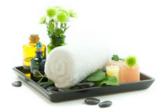 Relaxation spa set on a tray Royalty Free Stock Photos